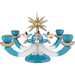 Candle Holder  -  Advent with Four Sitting Angels, Colored  -  38x38cm / 15x15 inch