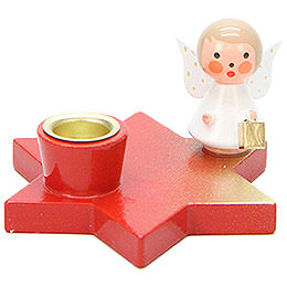 Candle Holder  -  Angel on Star  -  Red  -  3cm / 1.2 inch