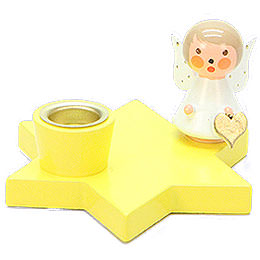 Candle Holder  -  Angel on Star  -  Yellow  -  3cm / 1.2 inch