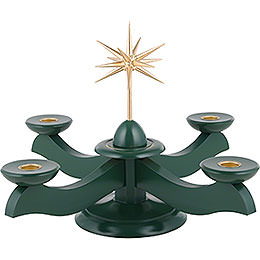 Candle Holder  -  Width Christmas Star and Advent Green  -  29x29x26cm / 11.4x11.4x10.2 inch