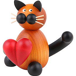 Cat Bommel with Heart  -  8cm / 3.1 inch