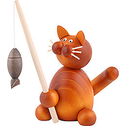 Cat Charlie with Fish  -  8cm / 3.1 inch