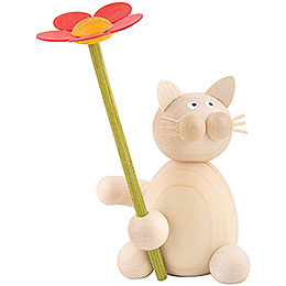 Cat Moritz with Flower  -  8cm / 3.1 inch