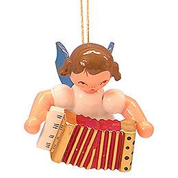 Christbaumschmuck Engel mit Akkordeon  -  Blaue Flügel  -  schwebend  -  5,5cm
