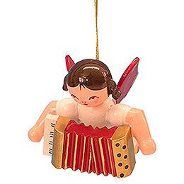 Christbaumschmuck Engel mit Akkordeon  -  Rote Flügel  -  schwebend  -  5,5cm