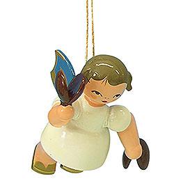 Christbaumschmuck Engel mit Kastagnetten  -  Blaue Flügel  -  schwebend  -  5,5cm
