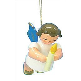 Christbaumschmuck Engel mit Kerze  -  Blaue Flügel  -  schwebend  -  6cm