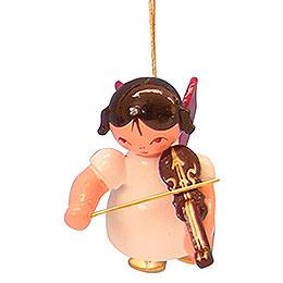 Christbaumschmuck Engel mit Violine  -  Rote Flügel  -  schwebend  -  5,5cm
