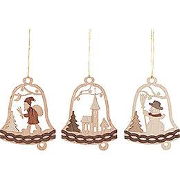 Christbaumschmuck Glocke mit Weihnachtsmotiven  -  6er Set  -  7cm