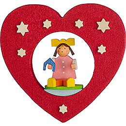 Christbaumschmuck Herz mit Puppe  -  7cm