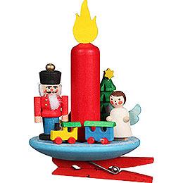 Christbaumschmuck Kerze mit Engel auf Klammer  -  6x8,5cm