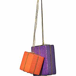 """Christbaumschmuck """"Pakete orange/lila""""  -  4cm"""