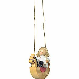 """Christbaumschmuck """"Puppe auf Schaukelpferd""""  -  5cm"""