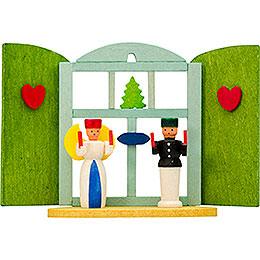 Christbaumschmuck Weihnachtsfenster Engel und Bergmann  -  6cm
