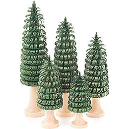 Coiled Trees with Trunk Green  -  5 pieces  -  11cm / 4.3 inch