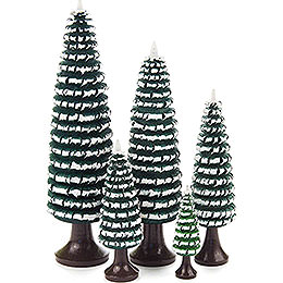 Coiled Trees with Trunk Green - White  -  5 pieces  -  12cm / 4.7 inch