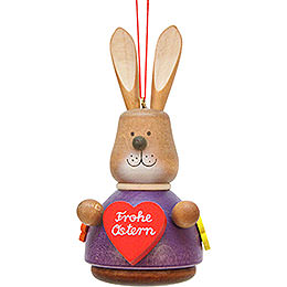 Easter Ornament  -  Teeter Bunny with Heart  -  9,8cm / 3.9 inch