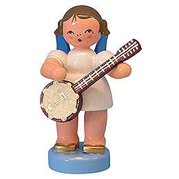 Engel mit Banjo  -  Blaue Flügel  -  stehend  -  6cm