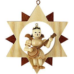 Engel mit Banjo im Stern, natur  -  9cm
