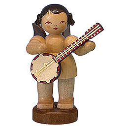 Engel mit Banjo  -  natur  -  stehend  -  6cm