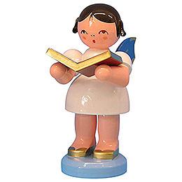 Engel mit Buch  -  Blaue Flügel  -  stehend  -  9,5cm
