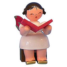 Engel mit Buch  -  Rote Flügel  -  sitzend  -  5cm