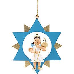 Engel mit Zugposaune im Stern, farbig  -  9cm