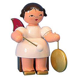 Engel mit kleinem Gong  -  Rote Flügel  -  sitzend  -  5cm