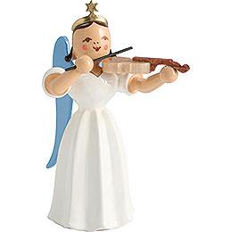 Faltenlangrockengel mit Violine, farbig  -  6,6cm