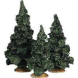 Fir Tree without Trunk, Set of Three  -  13cm / 5.1 inch