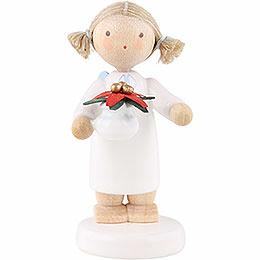Flachshaarengel mit Weihnachtsstern  -  5cm