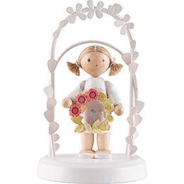Flachshaarkinder Geburtstagskind mit Blumenkranz, rosé  -  7,5cm