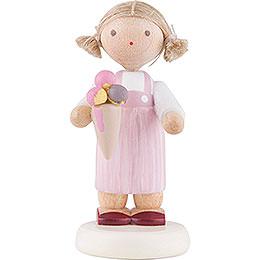 Flachshaarkinder Kleines Mädchen mit Eistüte  -  5cm