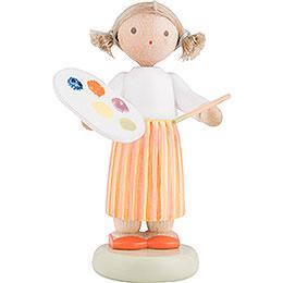 Flachshaarkinder Mädchen mit Farbpalette  -  5cm