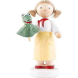 Flachshaarkinder Mädchen mit Krokodil  -  5cm