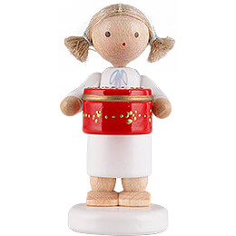 Flax Haired Angel with Can with Sweets, Red  -  5cm / 2 inch