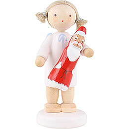 Flax Haired Angel with Chocolate Santa  -  5cm / 2 inch