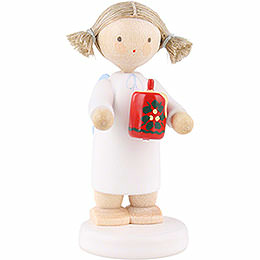 Flax Haired Angel with Christmas Candle  -  5cm / 2 inch