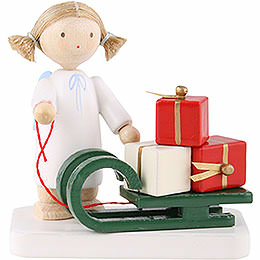 Flax Haired Angel with Christmas Sleigh  -  5cm / 2 inch