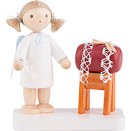 Flax Haired Angel with Clopper Sack  -  5cm / 2 inch