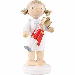 Flax Haired Angel with Nutcracker  -  5cm / 2 inch