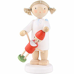 Flax Haired Angel with Pinocchio  -  5cm / 2 inch