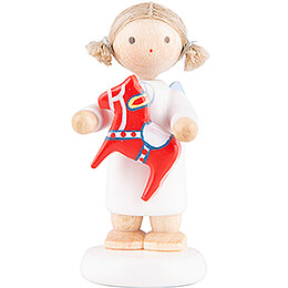 Flax Haired Angel with Swedish Little Horse  -  5cm / 2 inch