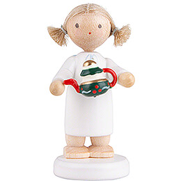 Flax Haired Angel with Tea Pot  -  5cm / 2 inch