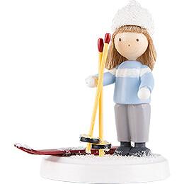Flax Haired Children Boy on Ski  -  5cm / 2 inch