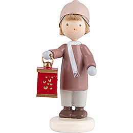 Flax Haired Children Boy with Miner's Lantern  -  5cm / 2 inch