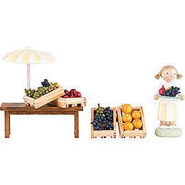 Flax Haired Children Fruit Vendor  -  5cm / 2 inch