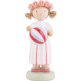Flax Haired Children Girl with Ball  -  5cm / 2 inch