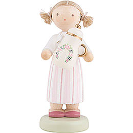 Flax Haired Children Girl with Coffee Pot  -  Ca. 5cm / 2 inch