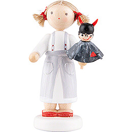 Flax Haired Children Girl with Devil  -  5cm / 2 inch